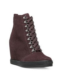 Fergie Jillian Suede Wedge Lace Up Booties Burgundy