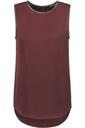 Theory Bringam Leather Trimmed Silk Crepe De Chine Top Red