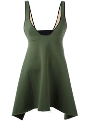 Ssheena Plunging V Neck Top Green