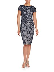 Adrianna Papell Sequin Embellished Semi Sheer Sheath Dress Navy