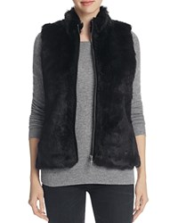 Foxcroft Faux Fur Ribbed Knit Vest Black