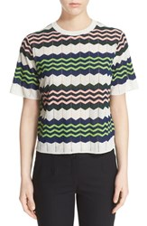 M Missoni Women's Zigzag Short Sleeve Knit Top