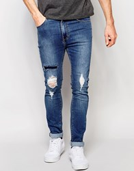 Dr. Denim Dr Denim Jeans Leon Slim Tapered Ripped Mid Wash Blue Mid Blue Ripped