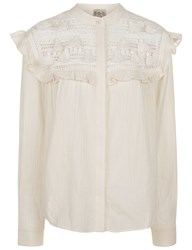 Sea Ivory Tassel Lace Yoke Blouse Cream