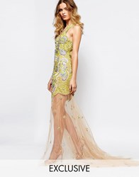 A Star Is Born Allover Luxe Embellished Mesh Insert Maxi Dress With Sheer Skirt Nude Yellow Silver