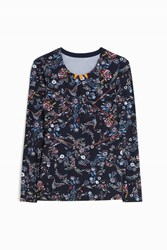 Lucas Hugh Inco Printed Tunic Top Navy
