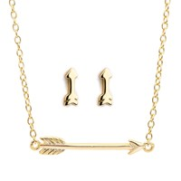 Earthy Chic Boutique Mini Arrow Necklace And Earring Set 14K Yellow Gold Plated