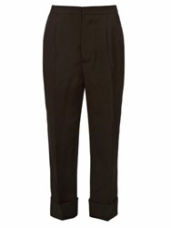 Marni Straight Leg Silk And Wool Blend Trousers Black