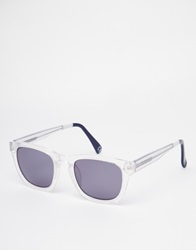 Asos Square Wayfarer Sunglasses With Clear Frame And Colour Block Arm White