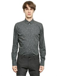 Dolce And Gabbana Floral Print Stretch Cotton Poplin Shirt