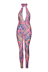 Aztec Festival Plunge Catsuit By Jaded London Multi