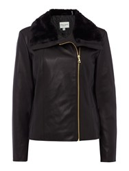 Andrew Marc New York Faux Leather Jacket With Faux Fur Collar Black