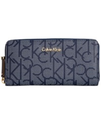 Calvin Klein Handbag Monogram Wallet Dot Navy White Camel