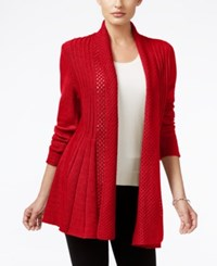 Ny Collection Ribbed Open Front Cardigan Red Mercury