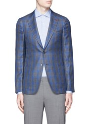 Isaia 'Cortina' Tartan Plaid Wool Silk Linen Blazer Multi Colour