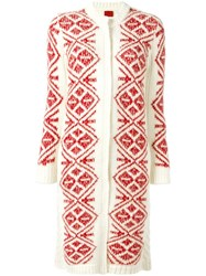 Moncler Gamme Rouge Geometric Pattern Long Cardigan Red