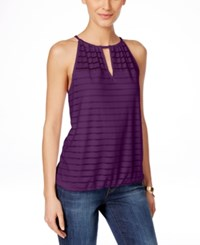 Inc International Concepts Illusion Striped Halter Top Only At Macy's Purple Paradise
