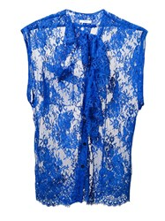 Tome Ruffled Lace Blouse Blue