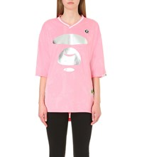 Aape By A Bathing Ape Logo Print Oversized Jersey Top Pink