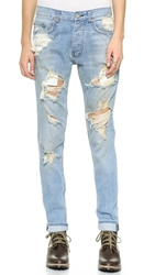 Oak Destroyed Slouchy Skinny Jeans Indigo