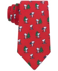 Peanuts Snoopy And Christmas Tree Tie Red