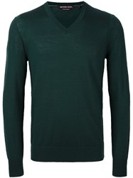 Michael Kors V Neck Jumper Green