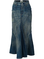 Comme Des Garcons Junya Watanabe Long Denim Skirt Blue