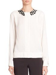 Piazza Sempione Embellished Long Sleeve Blouse White Milk