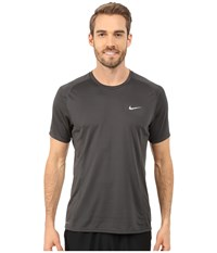 Nike Dri Fit Miler S S Shirt Anthracite Reflective Silver Men's Workout Gray