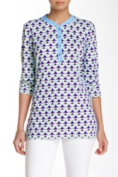 J. Mclaughlin Biscayne Banded Collar Tunic Blue