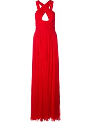 Roberto Cavalli Crossed Open Back Long Dress Red