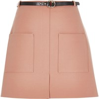 River Island Womens Light Pink Belted Pocket Mini Skirt