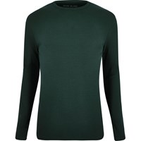 River Island Mens Dark Green Ribbed Long Sleeve T Shirt