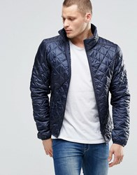 Blend Of America Blend Quilted Jacket Nylon Diamond Stitch In Navy Navy