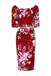 Jolie Moi Retro Floral Half Sleeve Ruched Dress Red