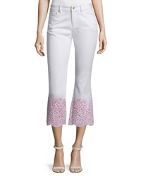 Michael Michael Kors Embroidered Cuff Flare Leg Cropped Denim Jeans Women's