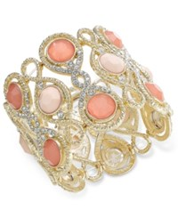 Inc International Concepts Gold Tone Large Stone And Pave Filigree Stretch Bracelet Only At Macy's