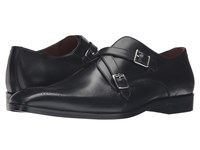 Massimo Matteo Cross Strap Slip On Black Black Men's Shoes