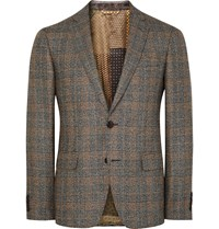 Etro Brown Slim Fit Checked Silk And Wool Blend Blazer Gray
