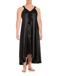 Oscar De La Renta Plus Ruffled Satin Nightgown Black