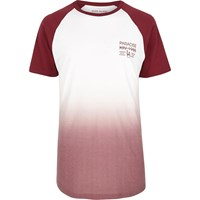 River Island Mens Burgundy Faded Print Longline T Shirt Red