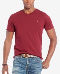 Polo Ralph Lauren Men's Relaxed Fit Jersey V Neck T Shirt Wine