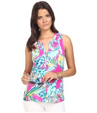 Lilly Pulitzer Essie Top Magenta Hottie Women's Sleeveless Blue