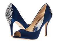 Badgley Mischka Nilla Navy Satin Women's Toe Open Shoes