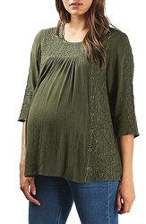 Topshop Women's Embroidered Maternity Peasant Top Olive