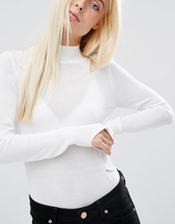 Asos Jumper With Turtle Neck In Soft Yarn White