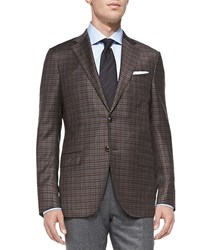 Ermenegildo Zegna Check Two Button Jacket Brown