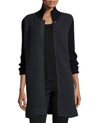 Neiman Marcus Cashmere Collection Bubble Stitch Zip Front Cocoon Coat