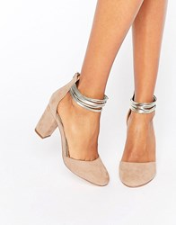 Miss Kg Mid Heel 2 Part Shoes Nude Beige