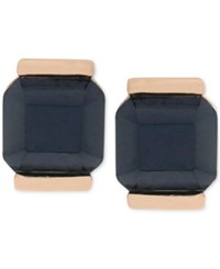 Vince Camuto Rose Gold Tone Black Stone Square Stud Earrings